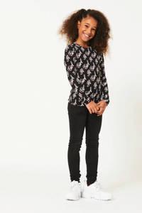 CoolCat Junior skinny jeans Katy met slijtage zwart, Zwart