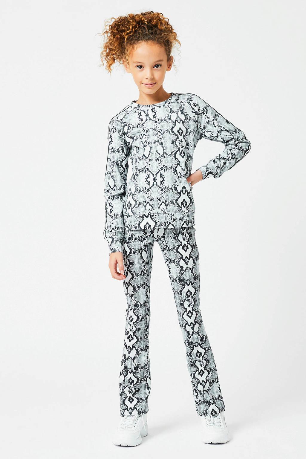 CoolCat Junior sweater Steffie met slangenprint en contrastbies wit/zwart, Wit/zwart