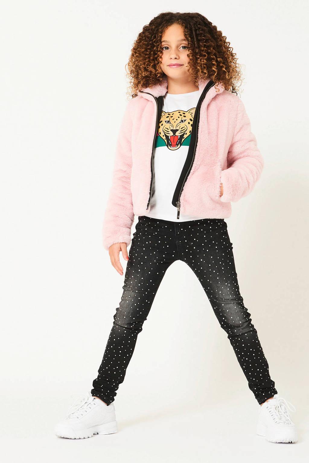 CoolCat Junior imitatiebont winterjas Jewel lichtroze/zwart, Lichtroze/zwart
