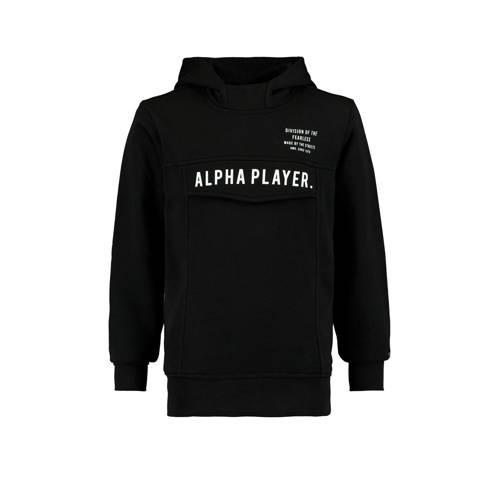 CoolCat Junior hoodie Saul met tekst zwart
