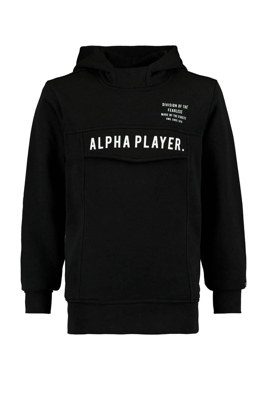 CoolCat Junior hoodie Saul met tekst zwart, Zwart