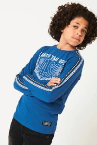 CoolCat Junior longsleeve Lester met contrastbies blauw, Blauw
