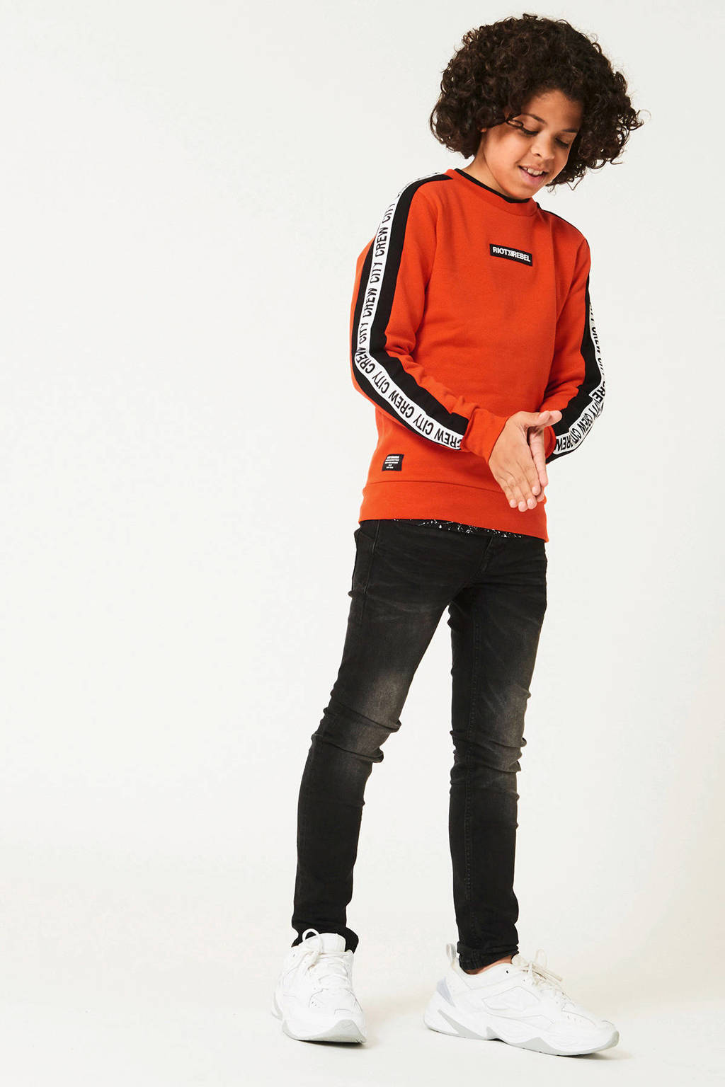 CoolCat Junior sweater Spike met contrastbies oranje/zwart/wit, Oranje/zwart/wit