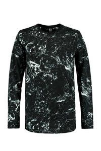 CoolCat Junior longsleeve Leroy met all over print zwart/wit, Zwart/wit