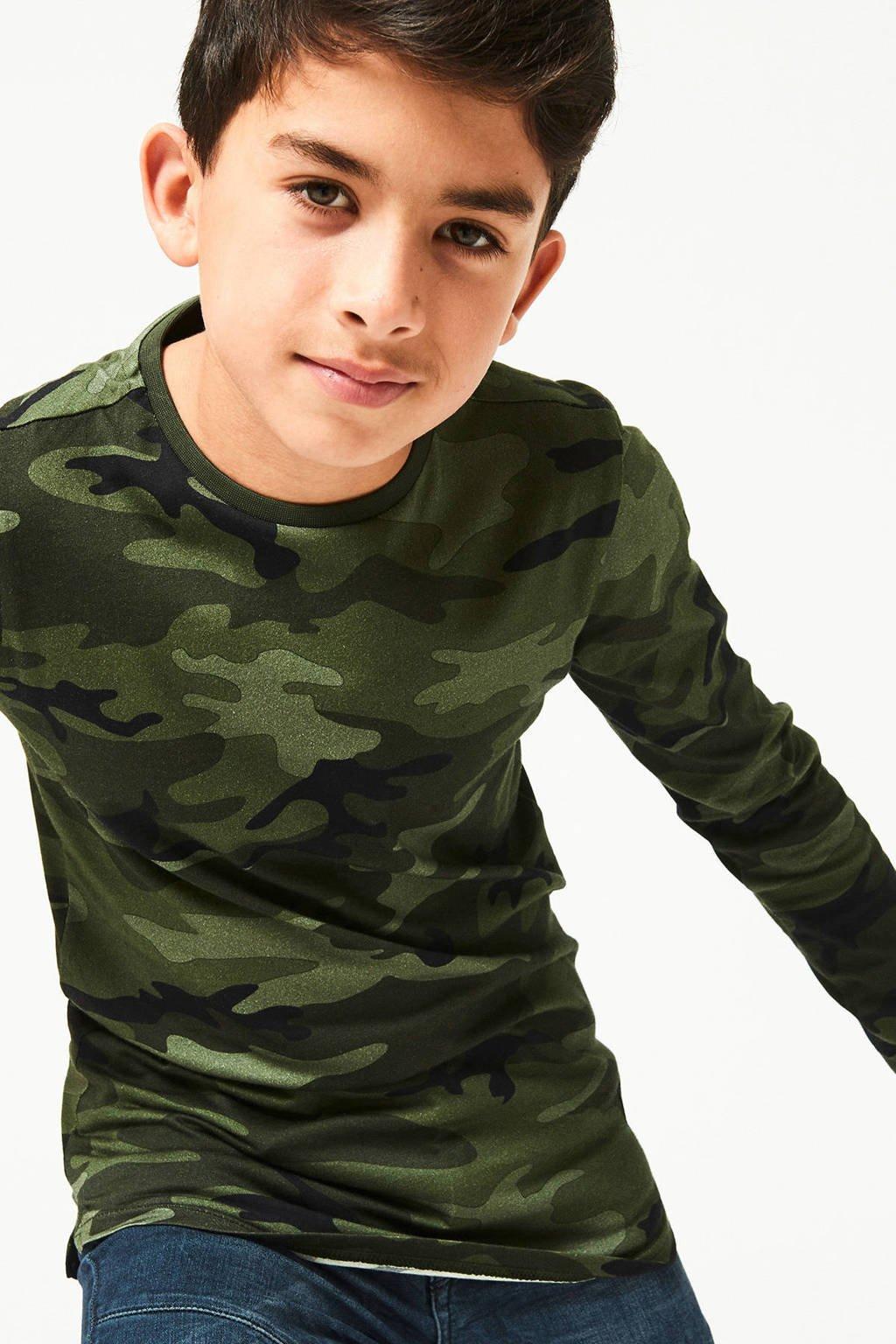 CoolCat Junior longsleeve Leroy met camouflageprint groen, Groen