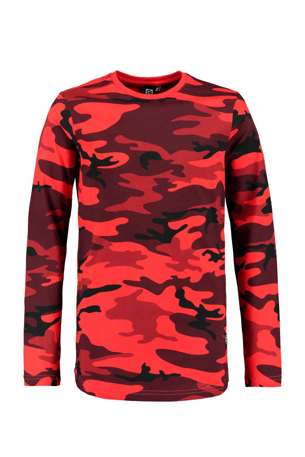 CoolCat Junior longsleeve Leroy met camouflageprint rood, Rood