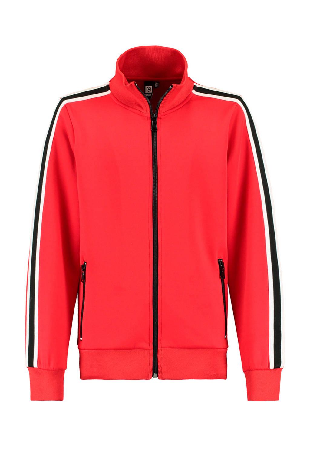 CoolCat Junior vest Scotty met contrastbies rood, Rood