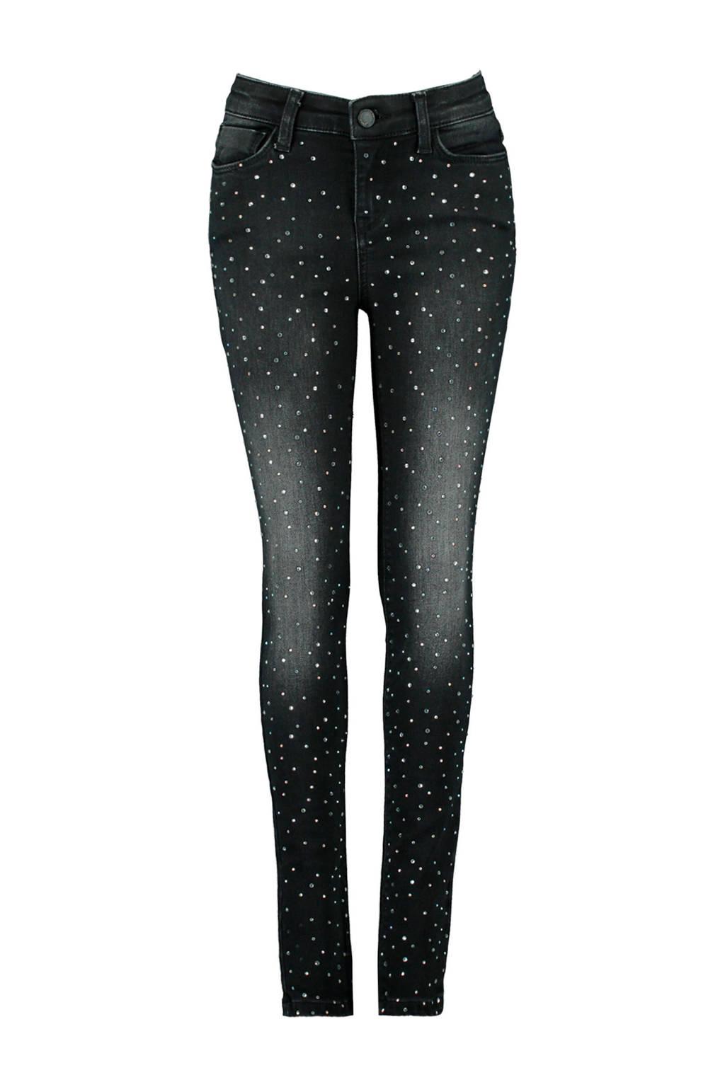 CoolCat Junior skinny jeans met all over print zwart, Zwart