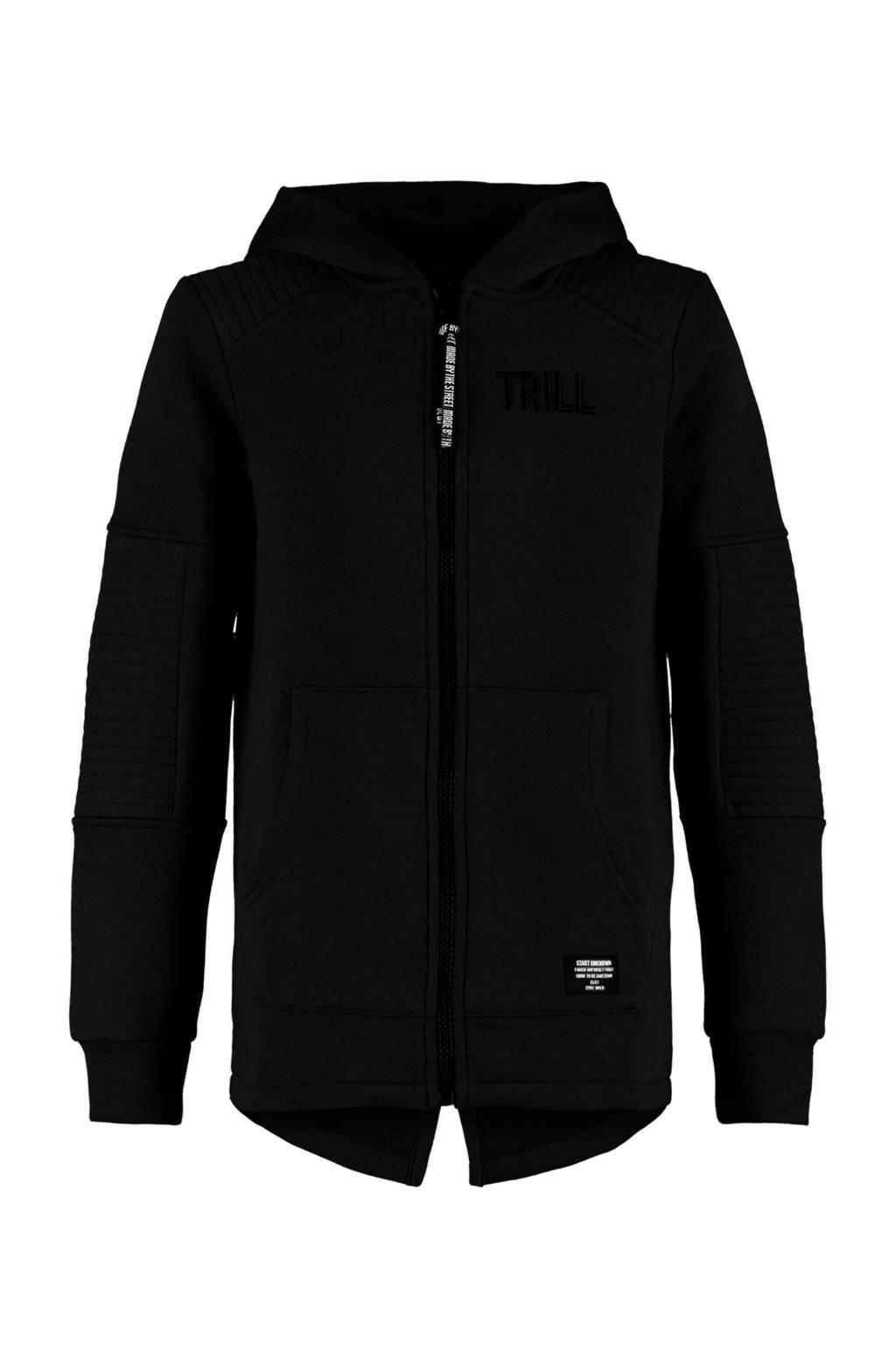 CoolCat Junior vest Sean met textuur zwart, Zwart