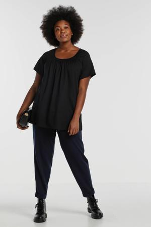 T-shirt Yokia met plooien zwart