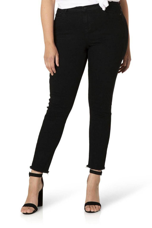 Yesta high waist skinny jeans Anna zwart, Zwart