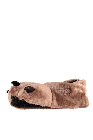 pantoffels dieren grijs/bruin kids