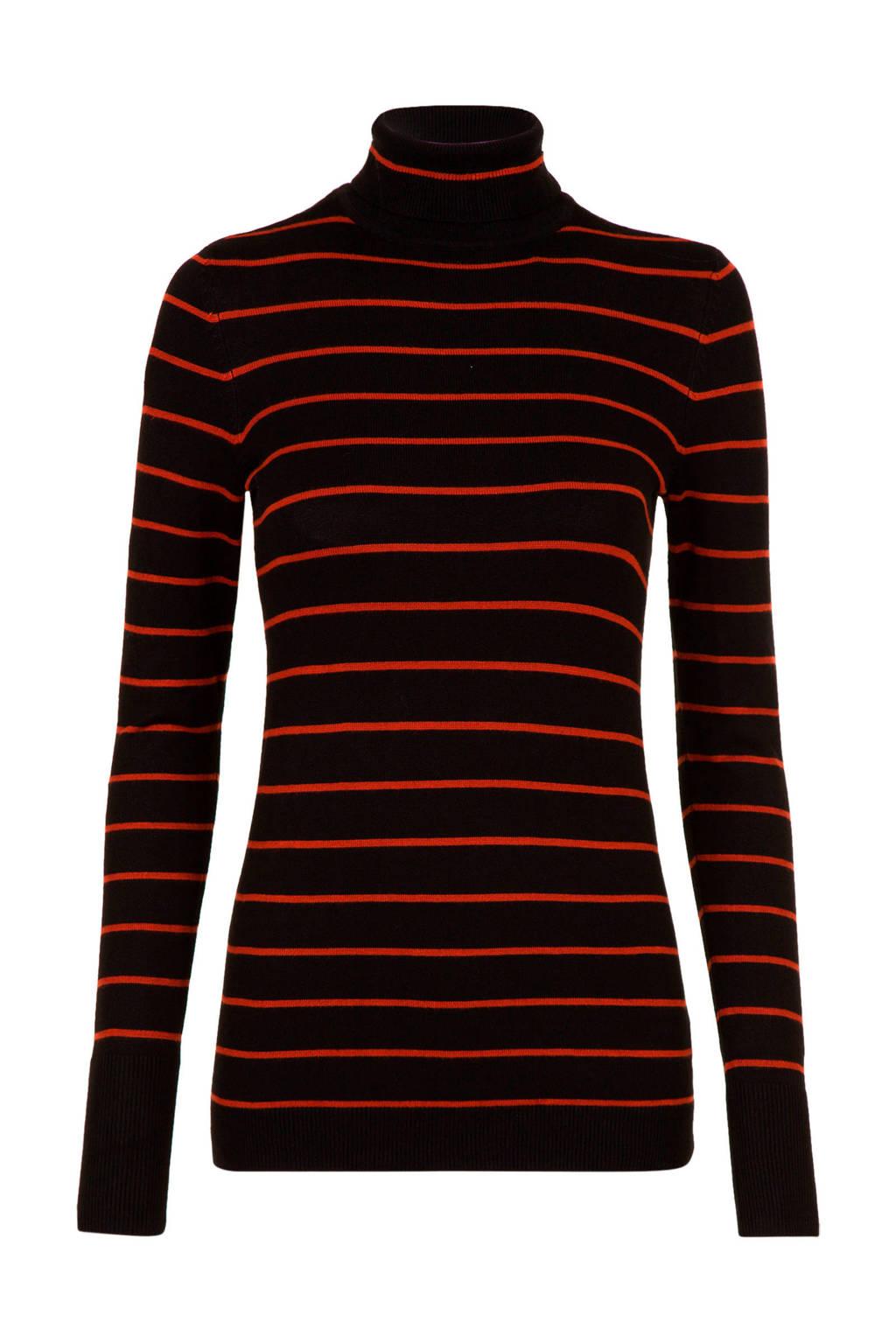 Miss Etam Lang gestreepte top zwart/rood, Zwart/rood