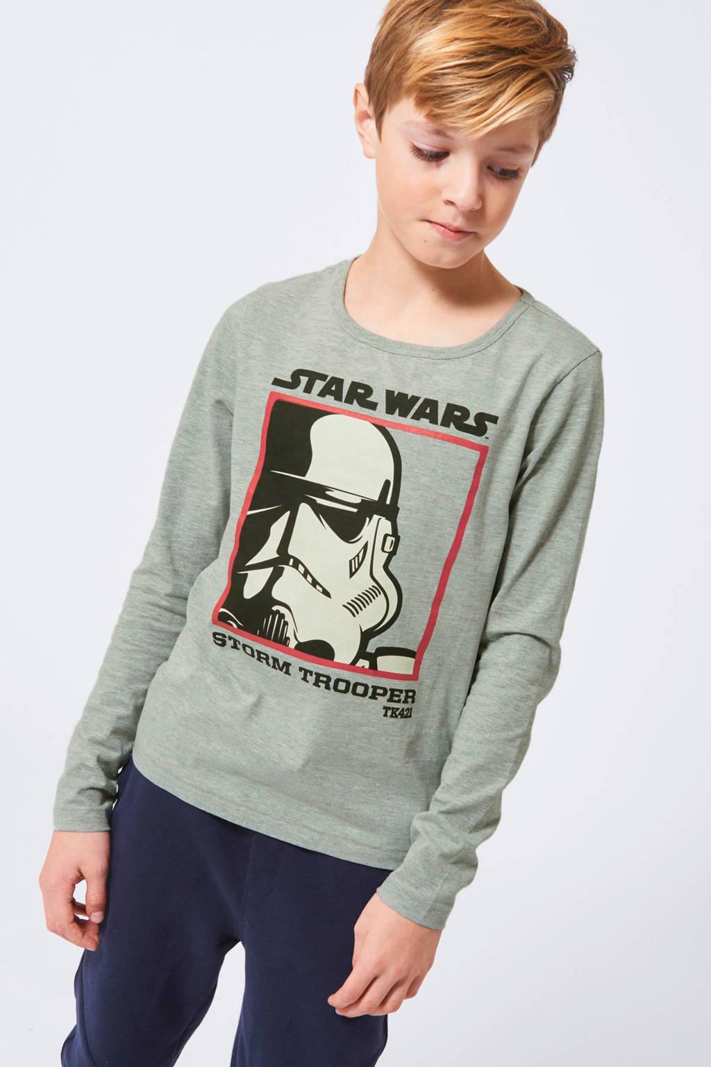 America Today Junior Star Wars longsleeve Layton met printopdruk lichtgrijs/zwart/rood, Lichtgrijs/zwart/rood