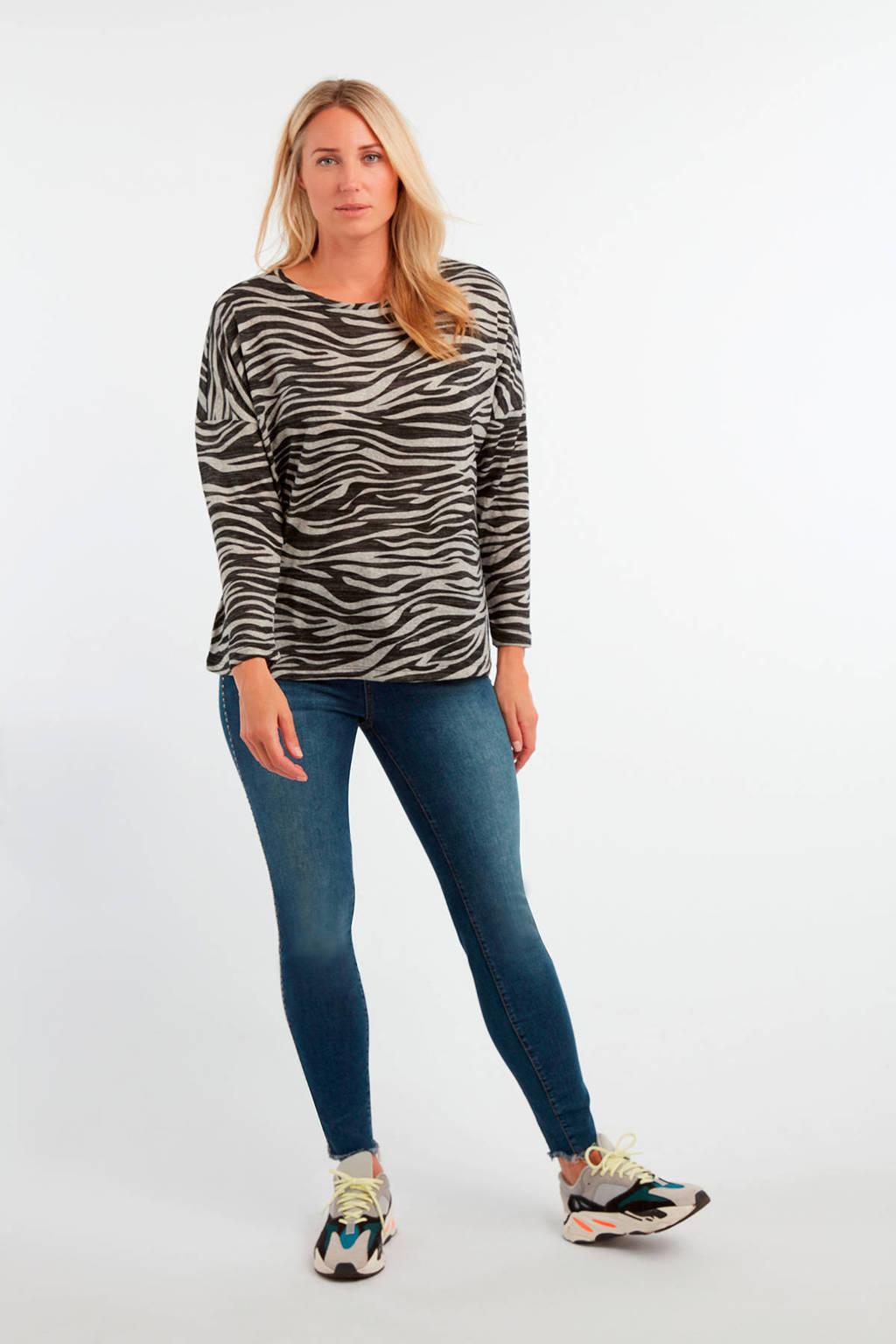 MS Mode longsleeve met zebraprint grijs/zwart, Grijs/zwart