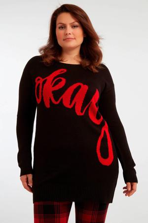 gebreide jurk met tekst zwart/rood