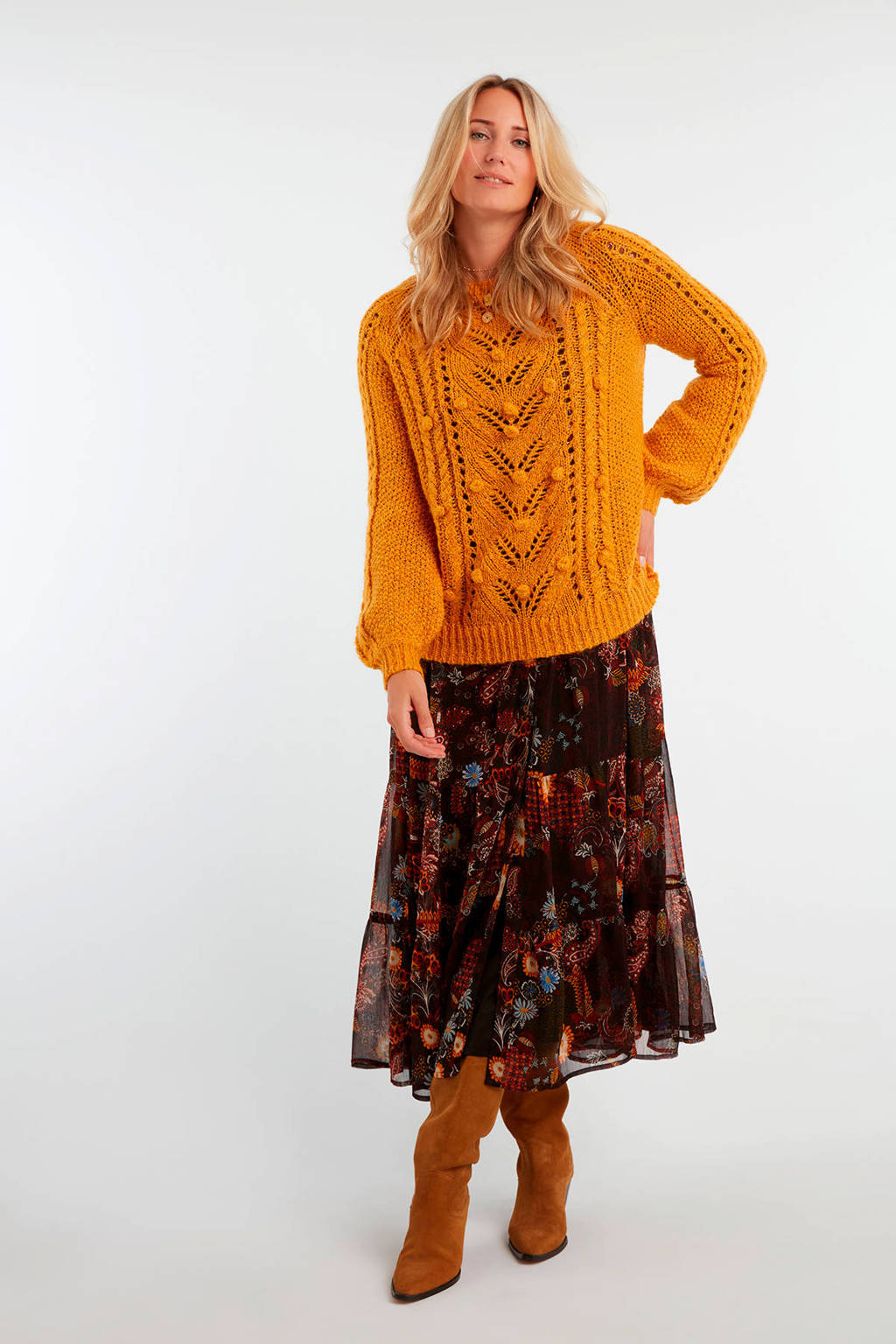MS Mode semi-transparante blousejurk met all over print multi, Multi