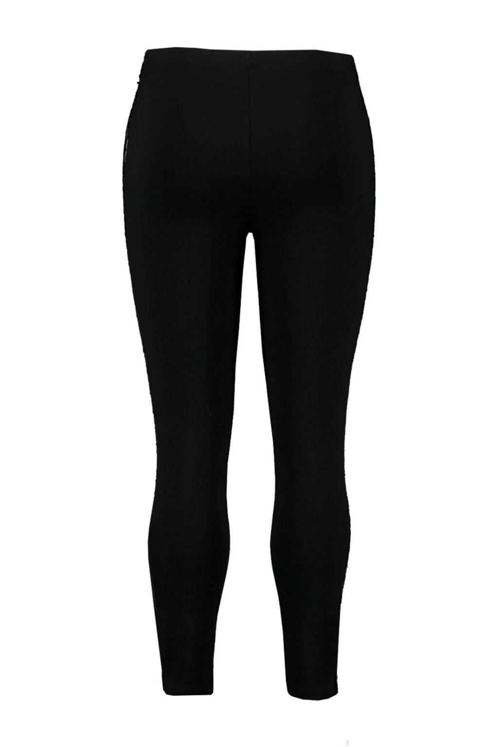 MS Mode legging met zijstreep zwart, Zwart
