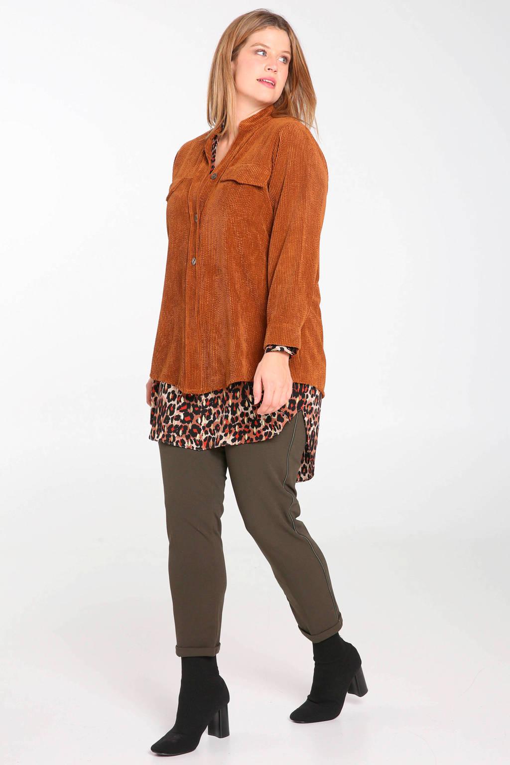 Paprika ribgebreide corduroy blouse bruin, Bruin
