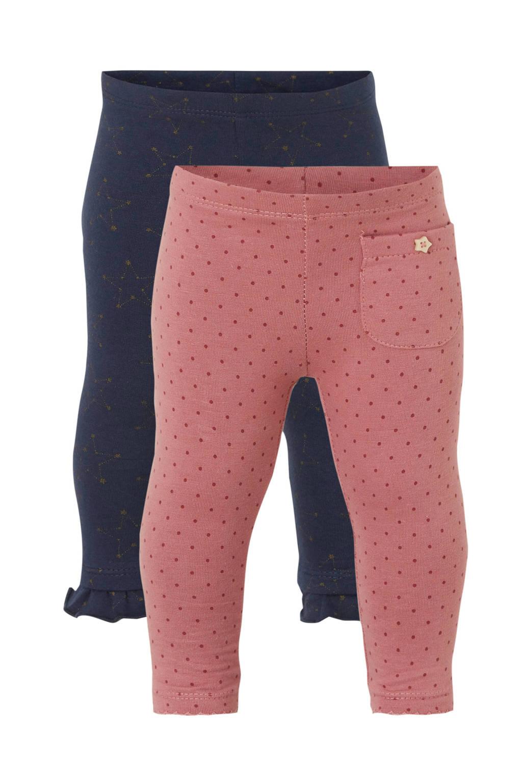 C&A Baby Club legging all over print - set van 2, Donkerblauw/goud