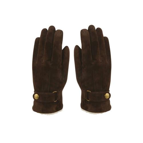 HATLAND leren su??de handschoenen bruin