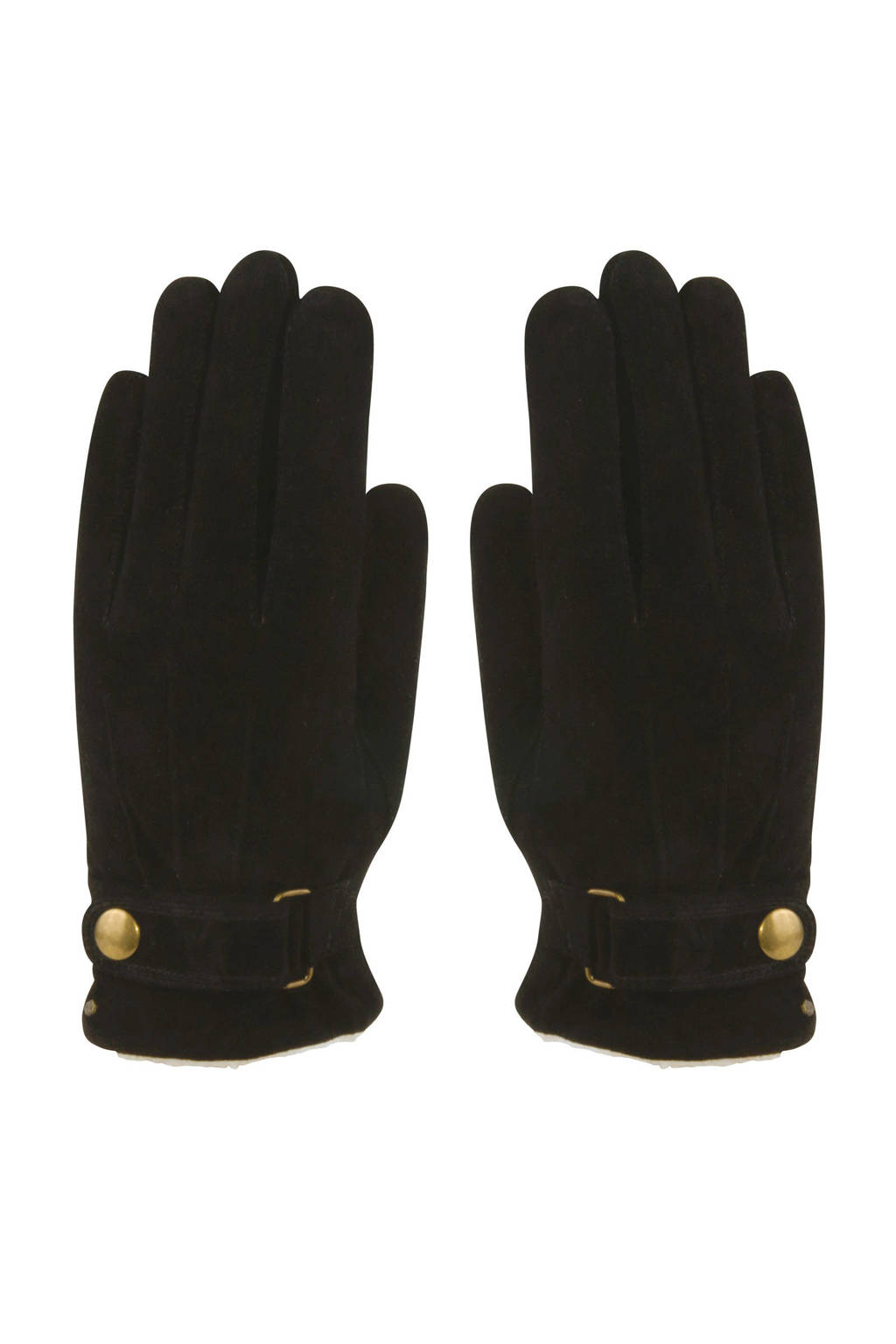 HATLAND leren suède handschoenen zwart, Zwart