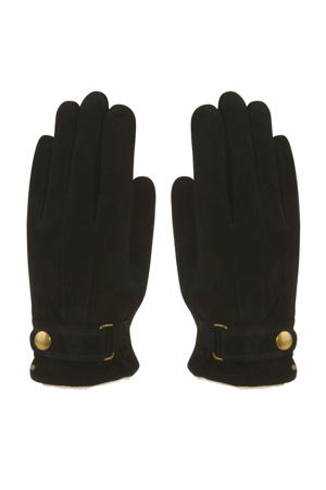 leren suède handschoenen zwart