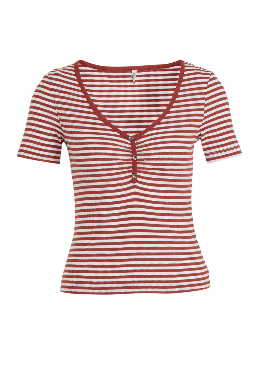 ONLY gestreepte top rood/wit, Rood/wit