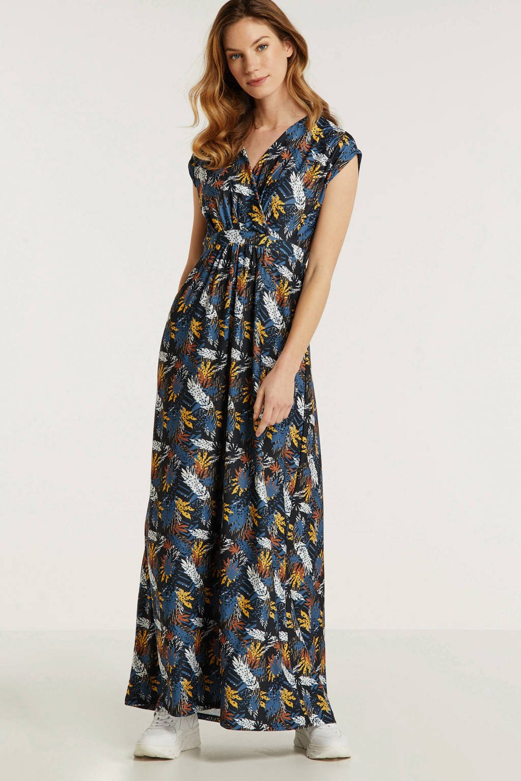 anytime maxi jurk met bladprint zwart, Zwart/blauw/geel