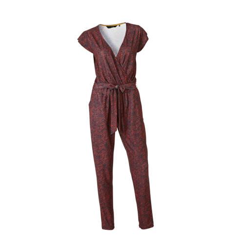 anytime jumpsuit met zigzag print zwart/rood