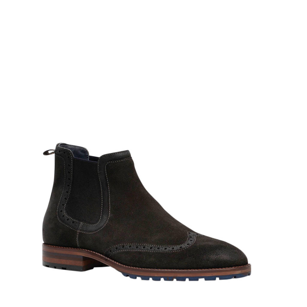 Scapino Van Beers   suède chelsea boots zwart, Zwart