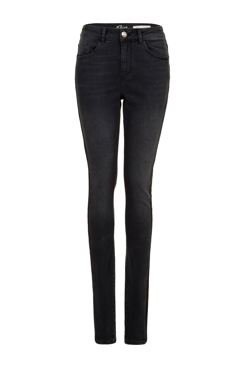 Miss Etam Lang high waist slim fit broek zwart 36 inch, Zwart