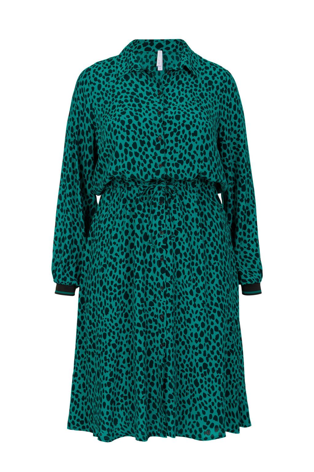 Miss Etam Plus blousejurk met all over print groen, Groen