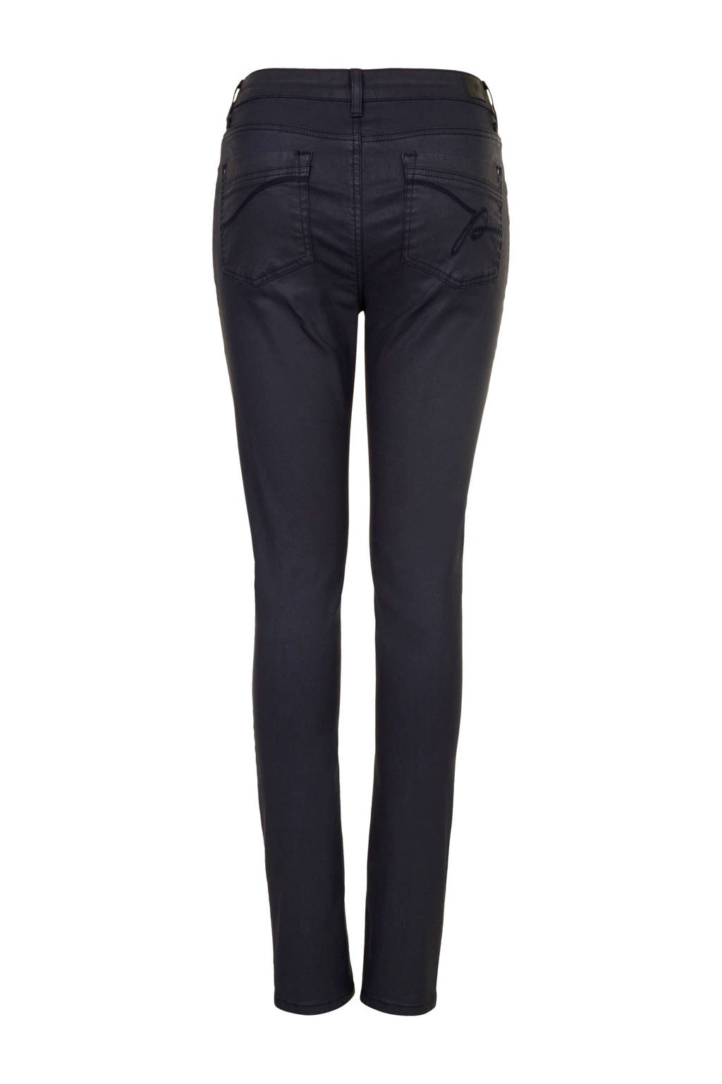 PROMISS coated high waist skinny jeans donkerblauw, Donkerblauw