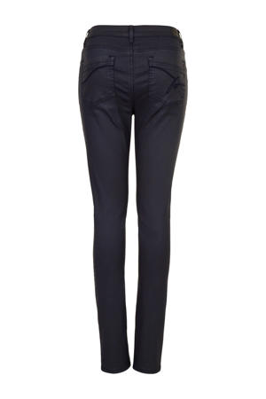 coated high waist skinny jeans donkerblauw
