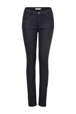 coated high waist skinny jeans donkerblauw