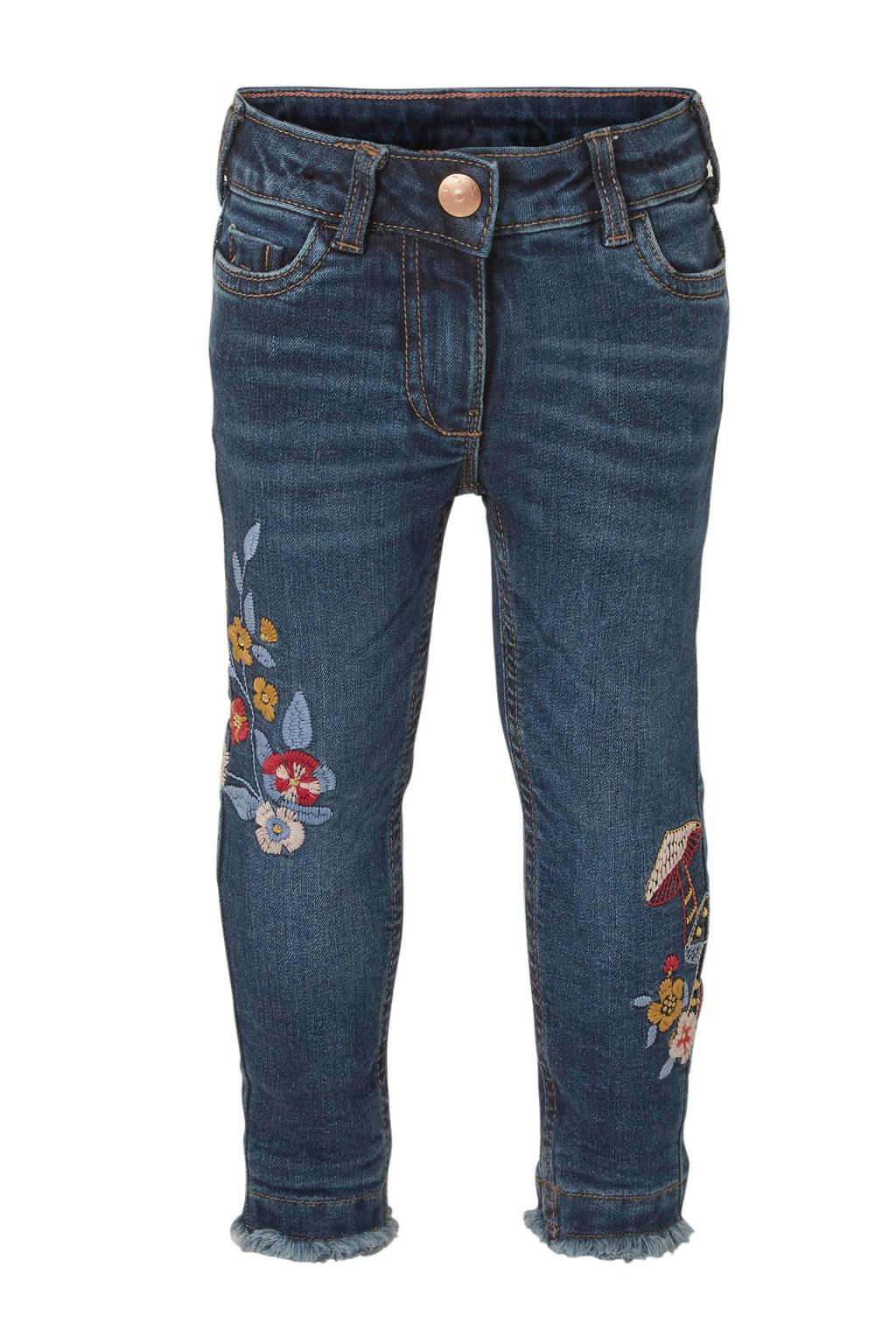 C&A Palomino skinny jeans met borduursels donkerblauw, Donkerblauw