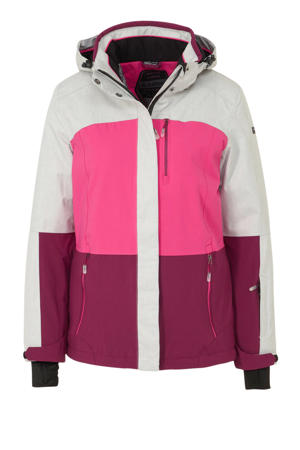 ski-jack lichtgrijs/roze