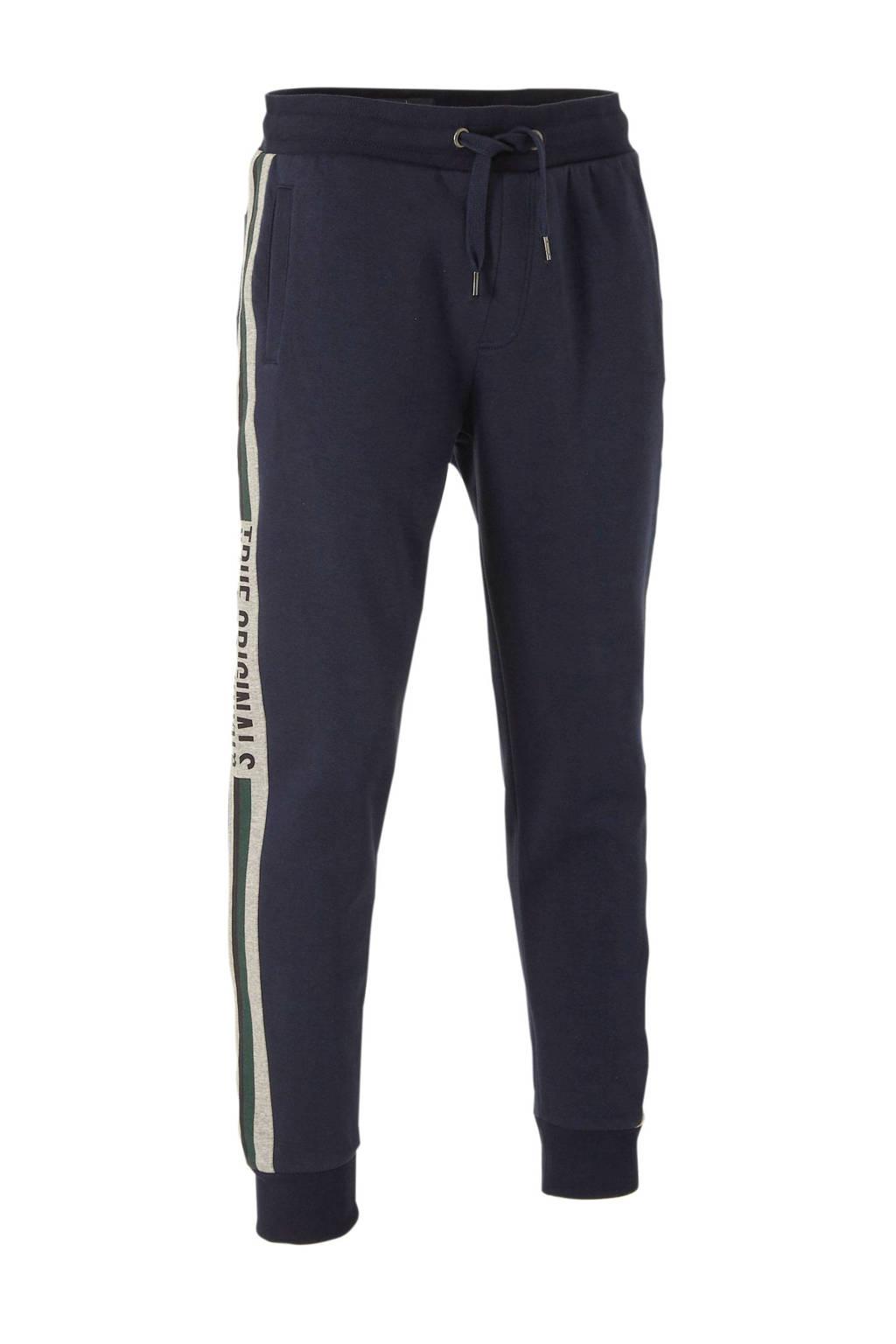 C&A Angelo Litrico straight fit joggingbroek met printopdruk donkerblauw/grijs/groen, Donkerblauw/grijs/groen