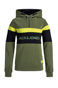 JACK & JONES JUNIOR hoodie met printopdruk donkergroen/geel/zwart, Donkergroen/geel/zwart
