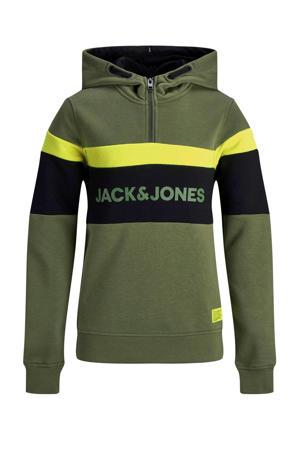 hoodie met printopdruk donkergroen/geel/zwart