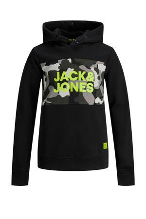 hoodie met printopdruk zwart/grijs/groen
