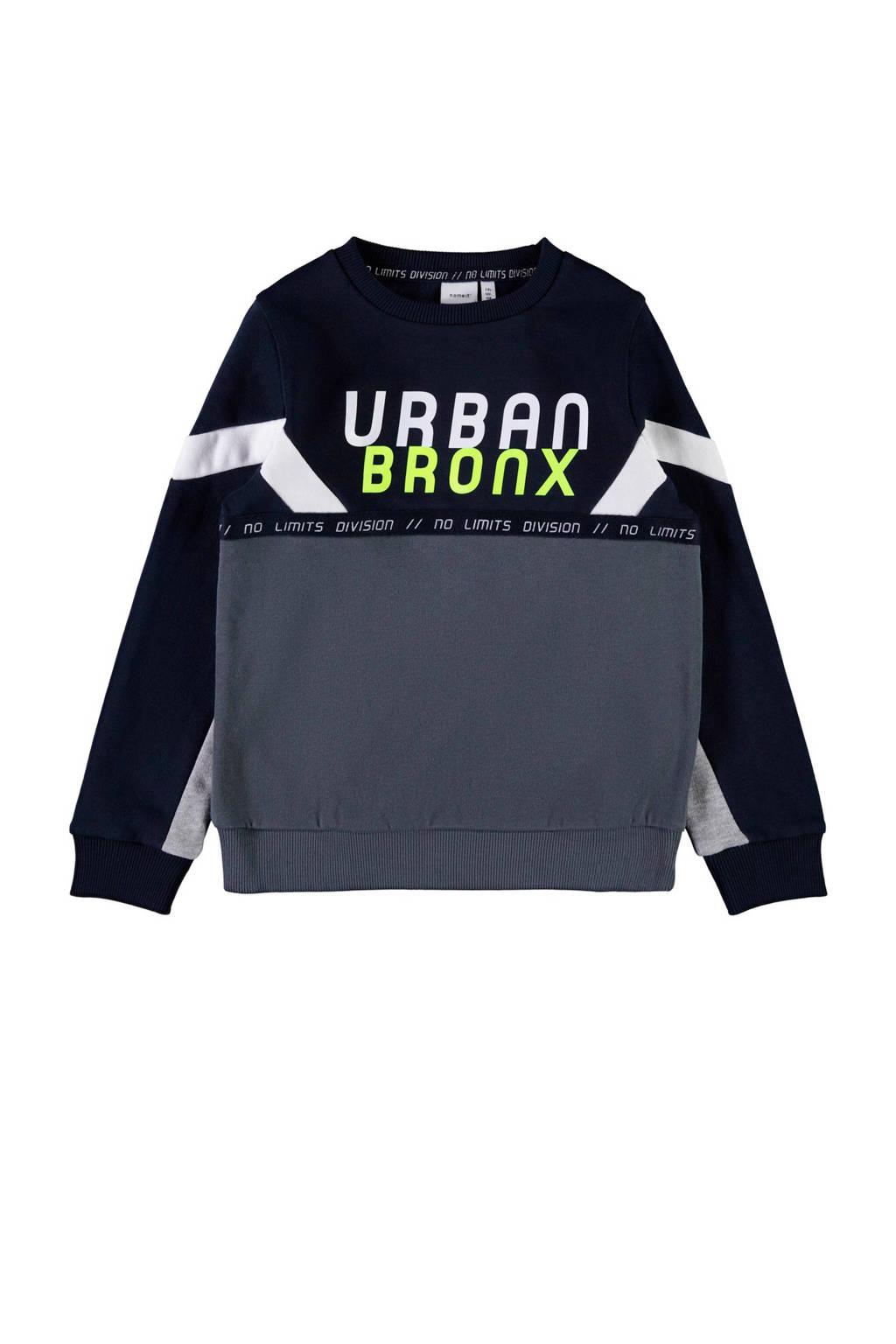 NAME IT KIDS sweater donkerblauw/grijs/wit, Donkerblauw/grijs/wit