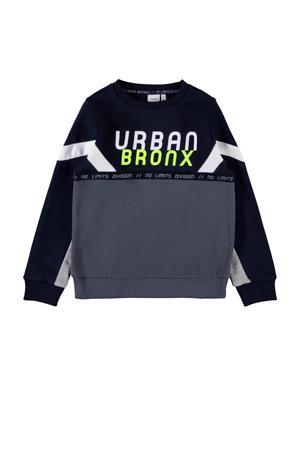 sweater donkerblauw/grijs/wit