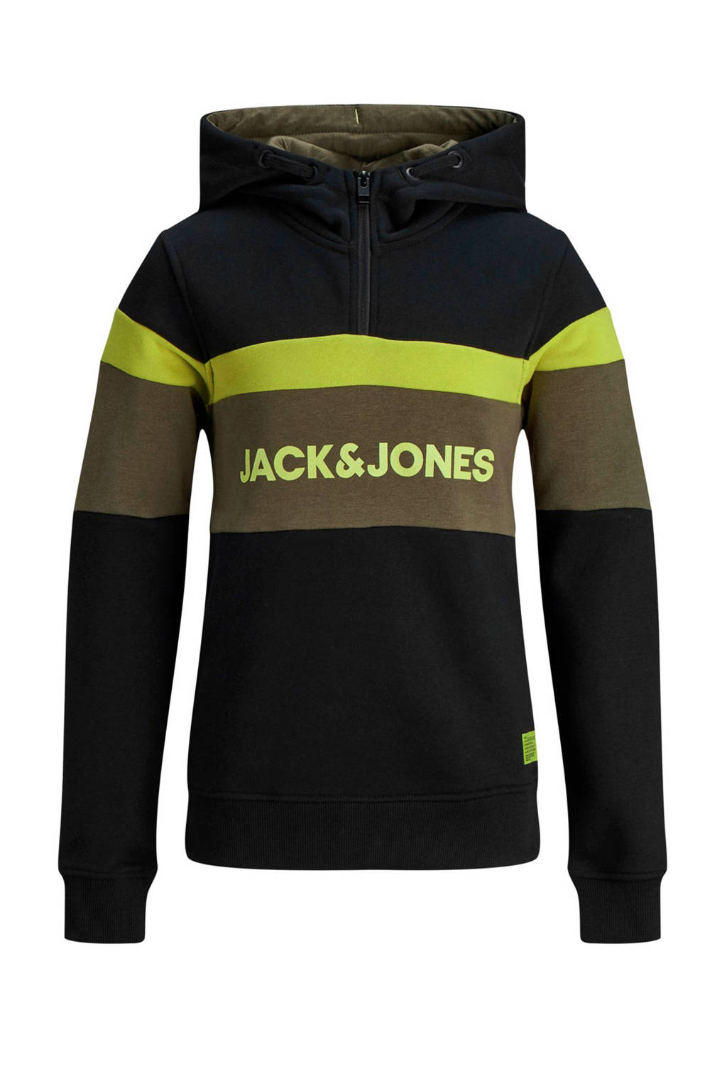 JACK & JONES JUNIOR hoodie met printopdruk zwart/groen, Zwart/groen