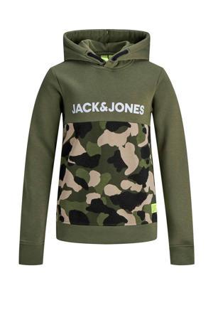hoodie met printopdruk groen/wit