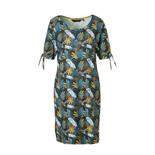 anytime jurk met bladprint zwart blauwgrijs