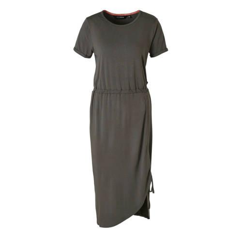 anytime jurk met rimpels donkergrijs
