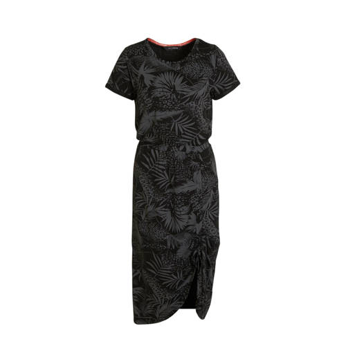 anytime jurk met rimpels en bladprint zwart taupe