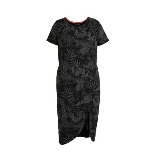 anytime Plus size jurk met rimpels en bladprint zwart taupe